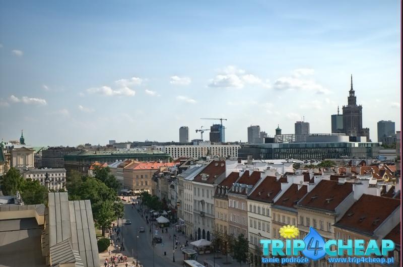 Widok z wieży widokowej kościoła św Anny w Warszawie